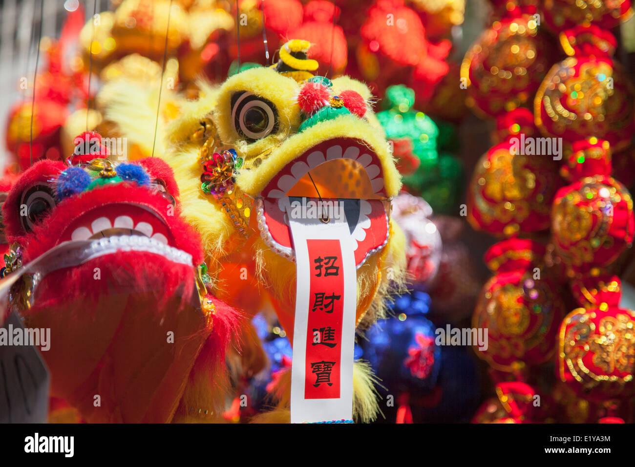 Chinese lion decoration at Fa Yuen Street Market, Mongkok, Kowloon, Hong Kong - Stock Image