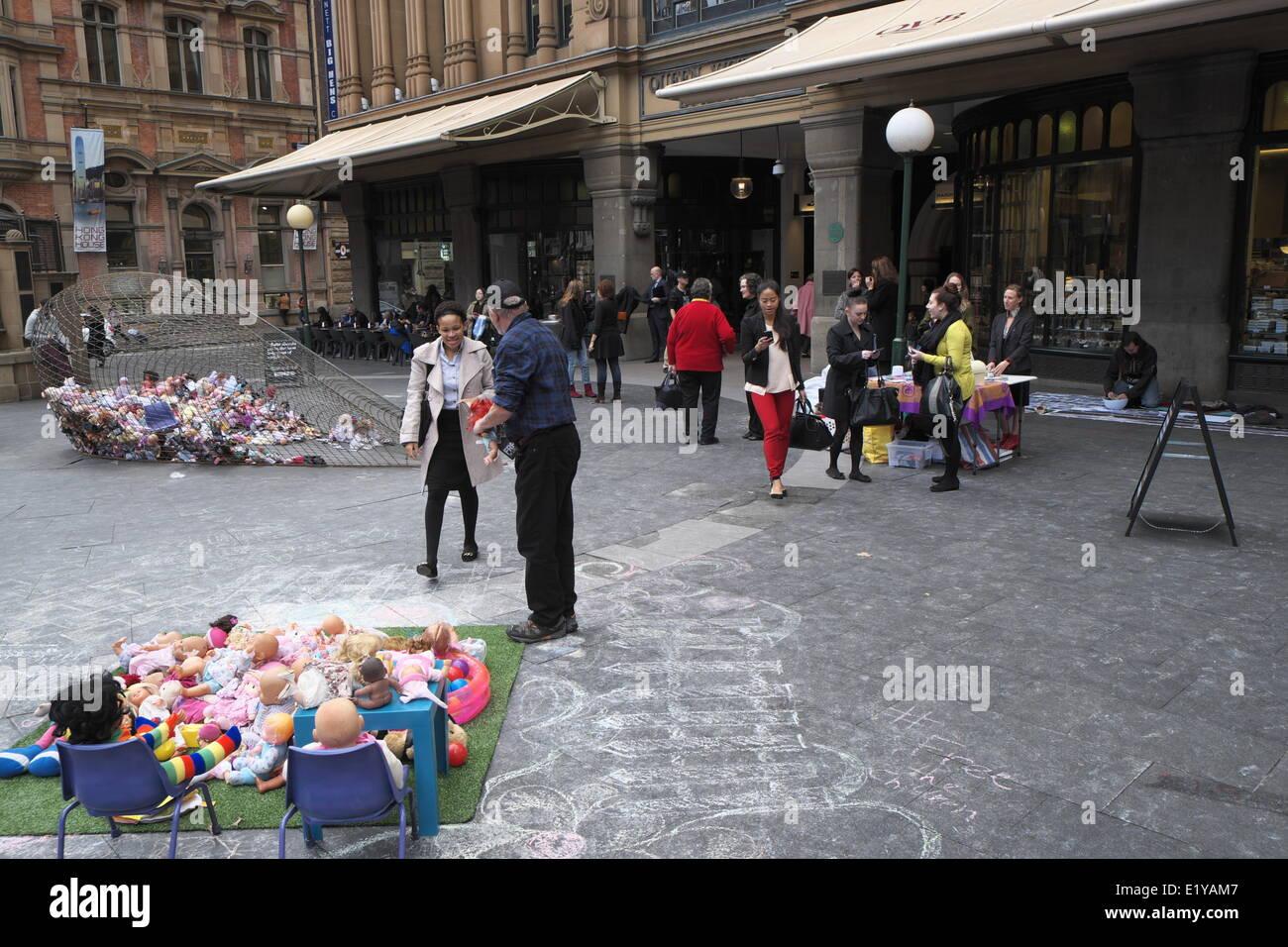 Sydney, Australia. 11th June 2014. Free the Children campaign protests against Australian government detaining children Stock Photo