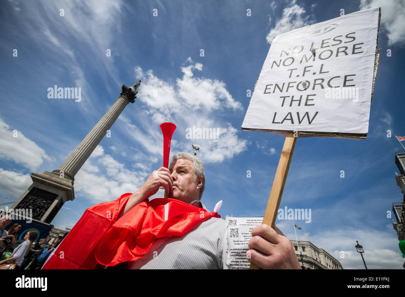 London, UK. 11th June, 2014. Taxi driver protest against Uber app in central London Credit:  Guy Corbishley/Alamy Stock Photo