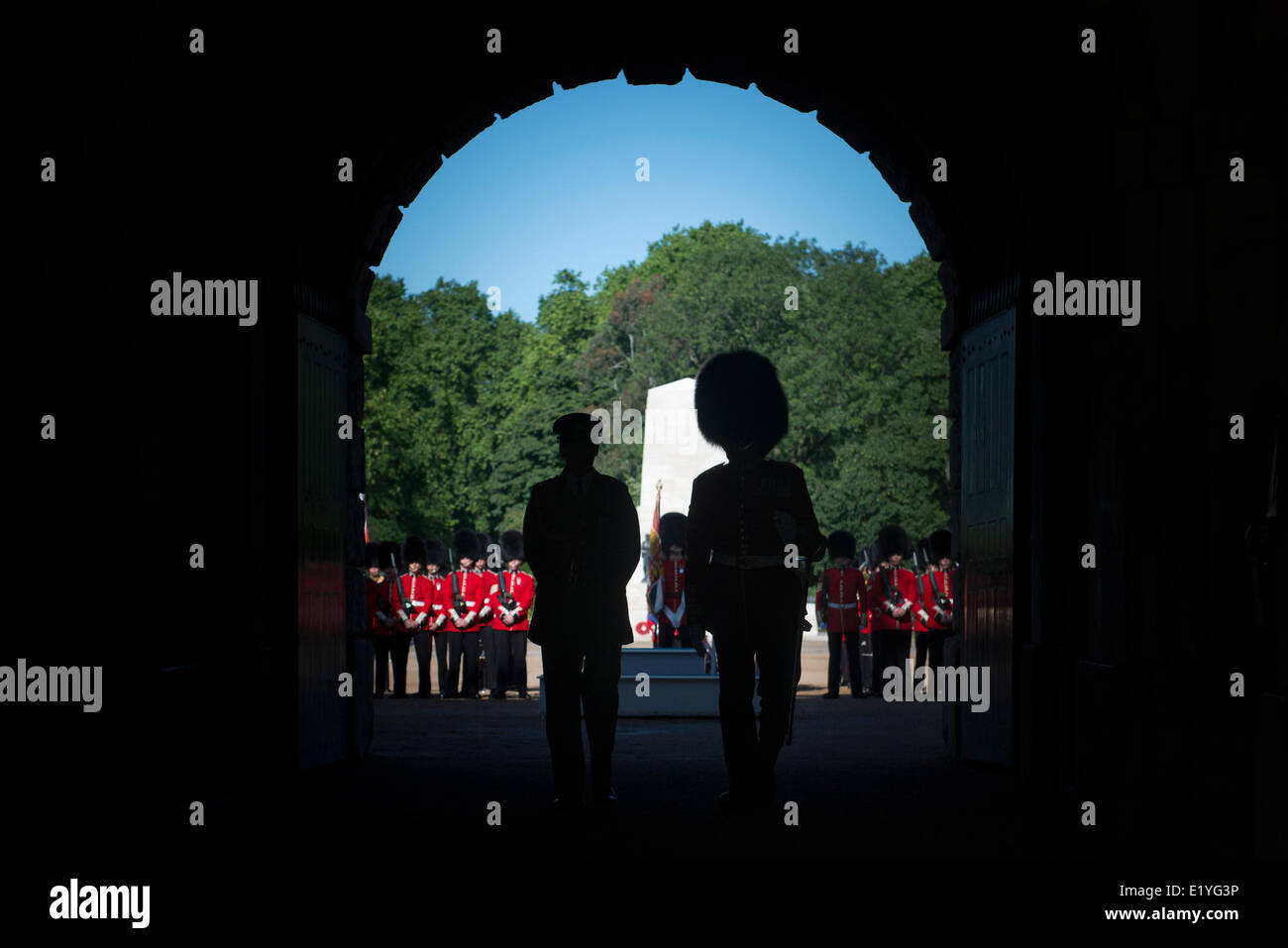 UK Chief of Defense Staff for the British Armed Forces Gen. Sir Nickolas Houghton, left, is silhouetted as he waits - Stock Image
