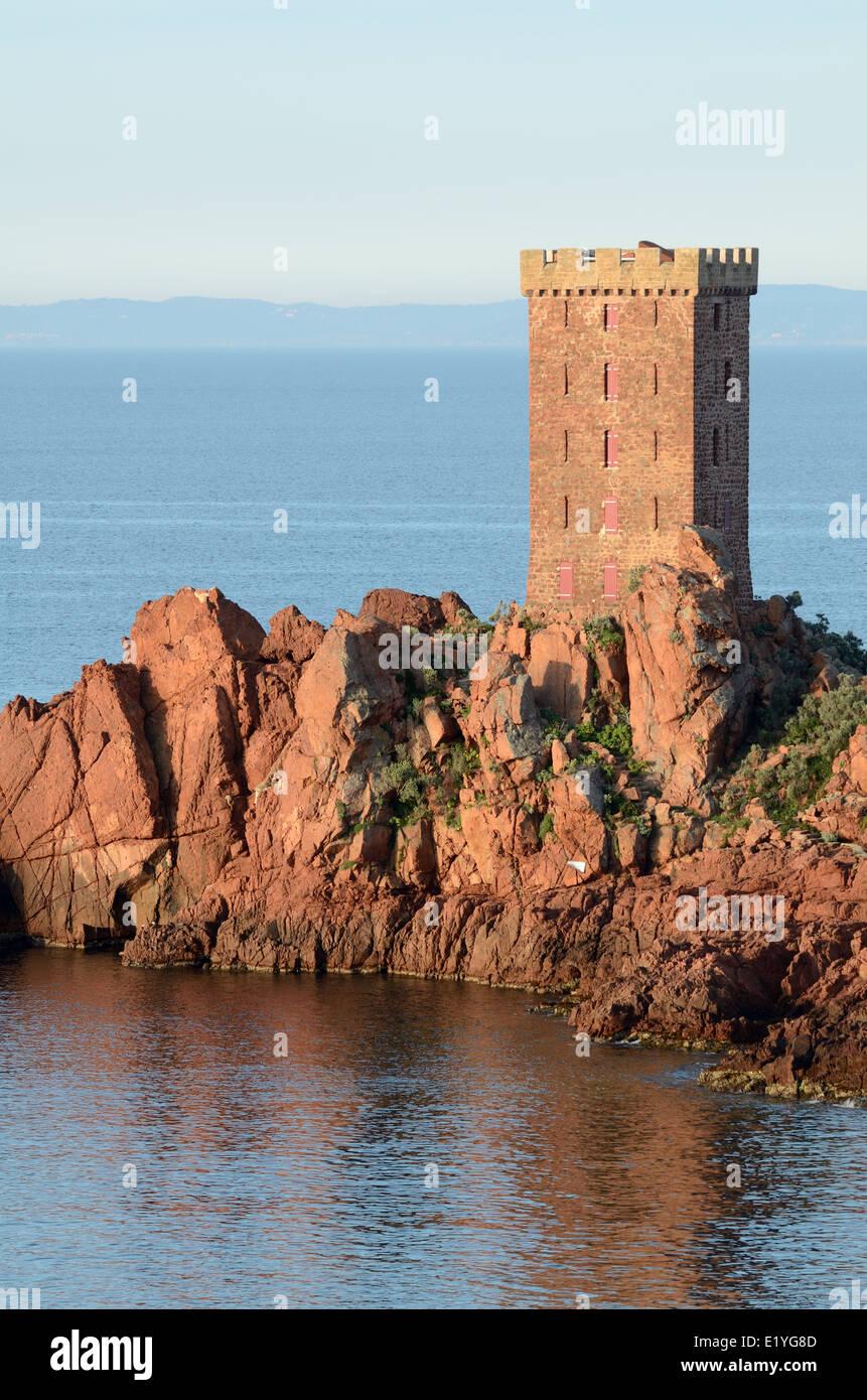 Stone Tower or Folly on Île d'Or off Cap Dramont Agay near saint Raphaël or Saint Raphael Var Côte - Stock Image