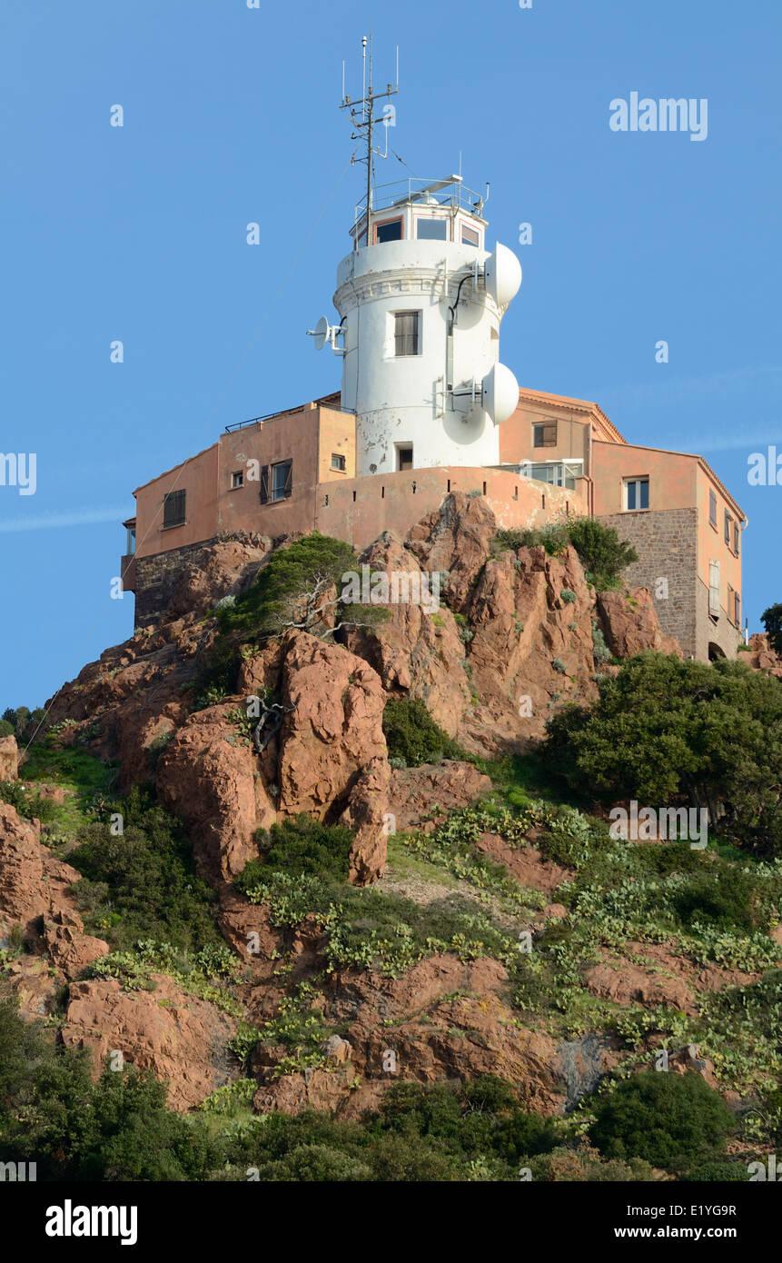 Semaphore or Lighthouse on Cap Dramont near Saint Raphaël Var Côte d'Azur France Stock Photo
