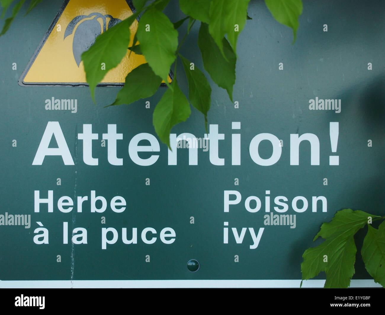 Poison Ivy Warning sign Stock Photo