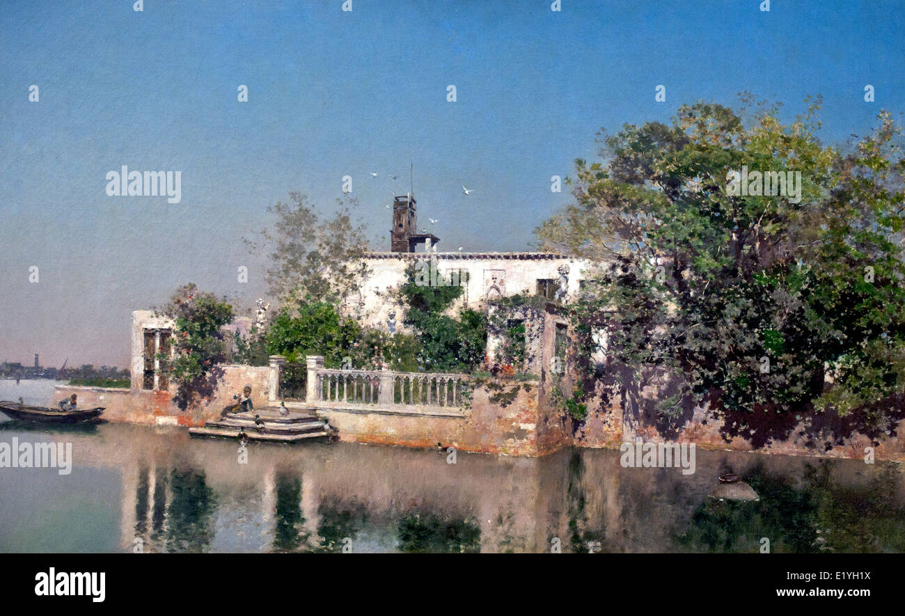 Venetian Landscape by Martin Rico Ortega 1833-1908 Spain Spanish Stock Photo
