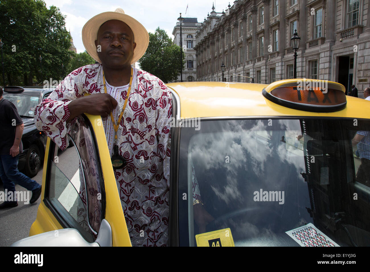 London, UK..11th June 2014. Black taxi drivers protest against taxi service app Uber, brings central London to a Stock Photo