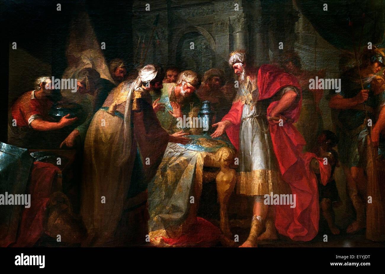 King Hezekiah Parading his Wealth before Abassadors of the King of Babylon 1789 Vicente Lopez Portana 1772-1850 Stock Photo