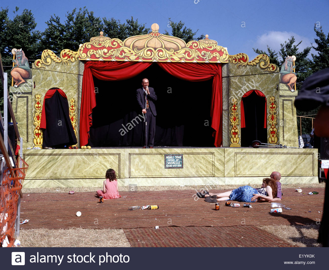 Glastonbury Festival has a selection of themed areas.The comedy area looks for an audience. Numbering three. 1995 - Stock Image