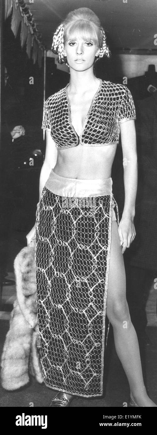 London, UK, UK. 14th Apr, 1967. Model, actress VICKI HODGE at the movie premiere of 'Casino Royale' at the Odeon in Leicester Square. Born October 17, 1946, Hodges is known for The Man Who Couldn't Get Enough (1974), The Stud (1974) and The Tomcat (1968). She was the girlfriend of actor/gangster John Bindon from 1968 to 1981. She is the aunt of Jodie and Jemma Kidd. © KEYSTONE Pictures/ZUMAPRESS.com/Alamy Live News Stock Photo