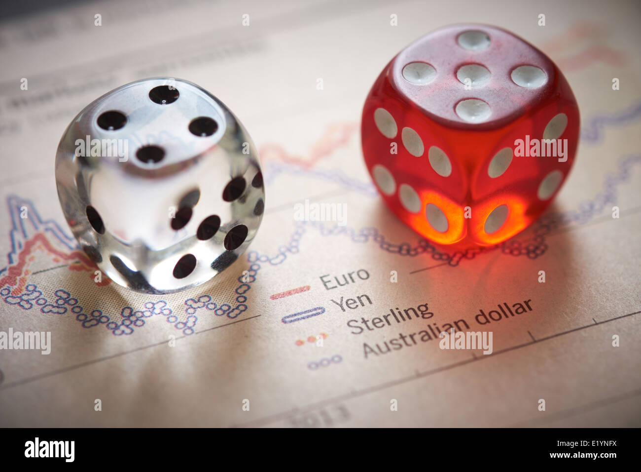 Currency trading. Coloured dice on top of the financial section of a newspaper. - Stock Image