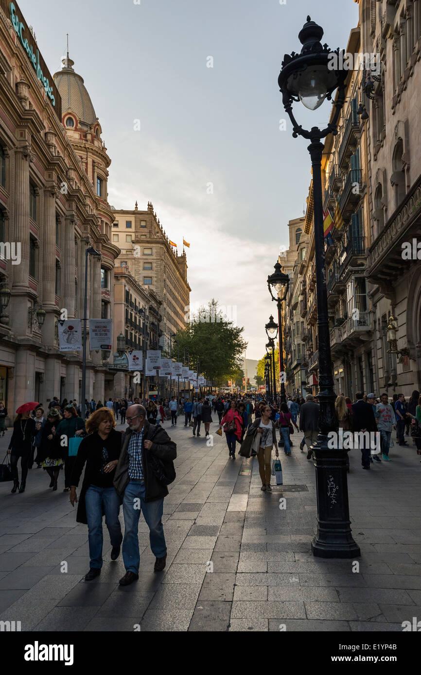 Pople walking in Portal de l'Angel, Barcelona Stock Photo