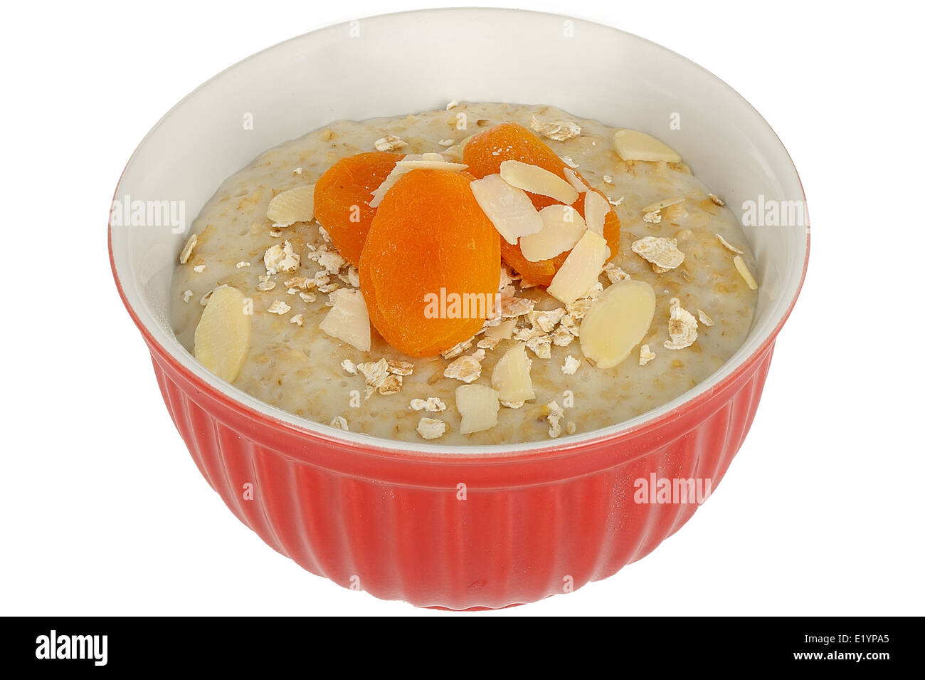 Porridge with Dried Apricot and Almond Nuts - Stock Image