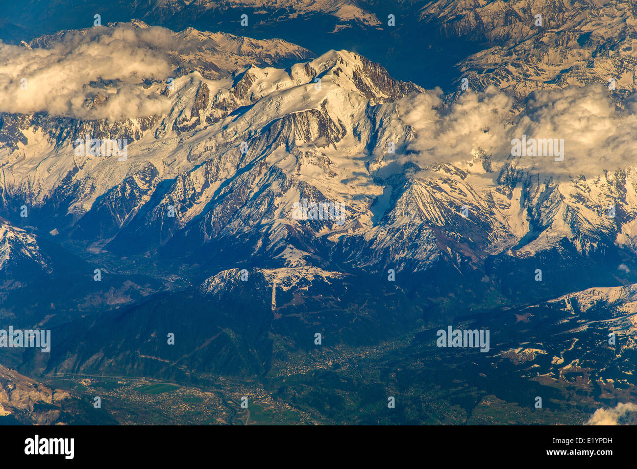 Aerial view of Mont Blanc massif, Rhone-Alpes, France - Stock Image