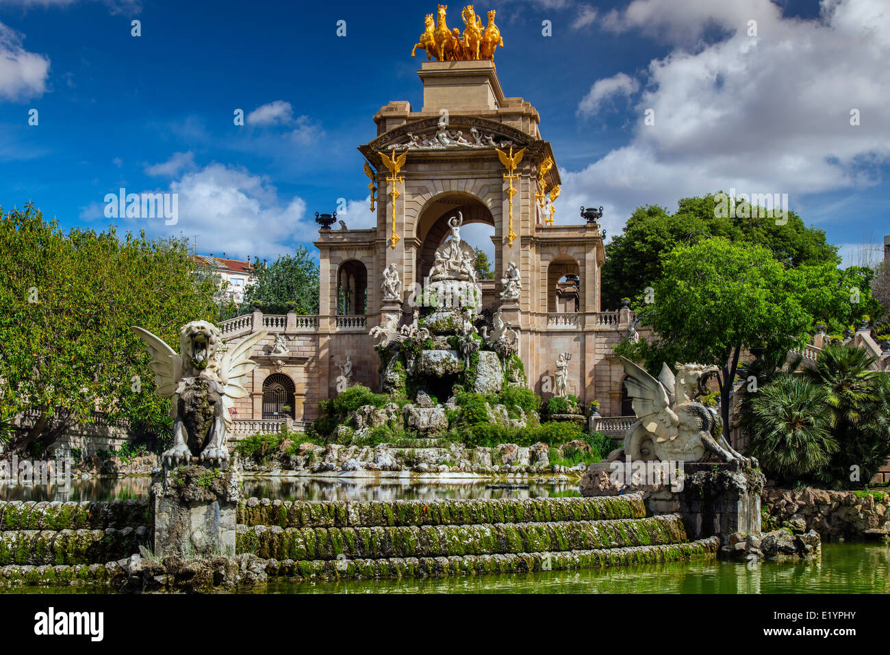 Fountain with waterfall at Parc de la Ciutadella or Ciutadella Park, Barcelona, Catalonia, Spain - Stock Image
