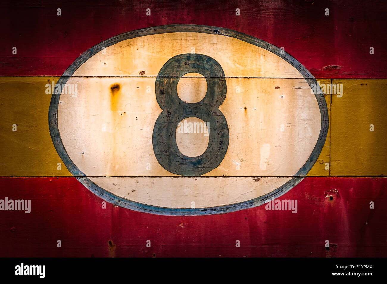 Old painted signs with numerals. Number 8 from a series. - Stock Image