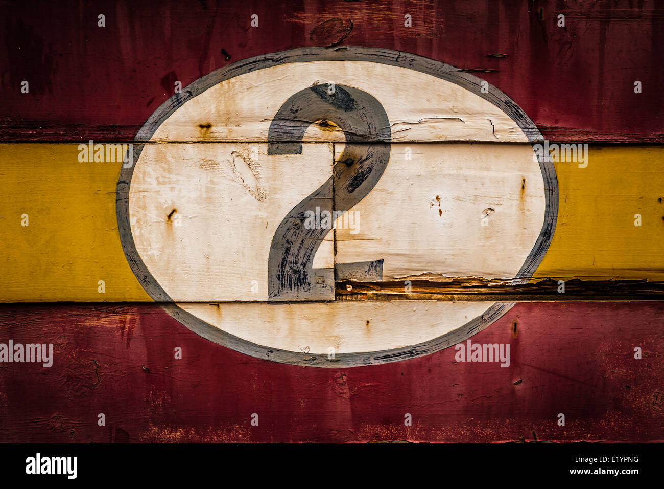 Old painted signs with numerals. Number 2 from a series. - Stock Image