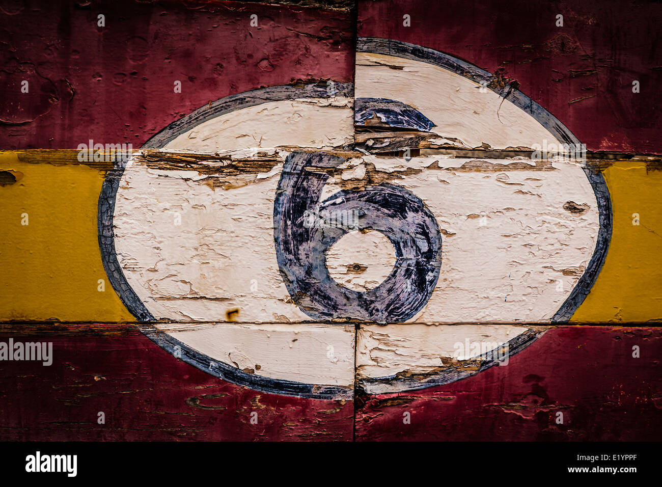 Old painted signs with numerals. Number 6 from a series. - Stock Image