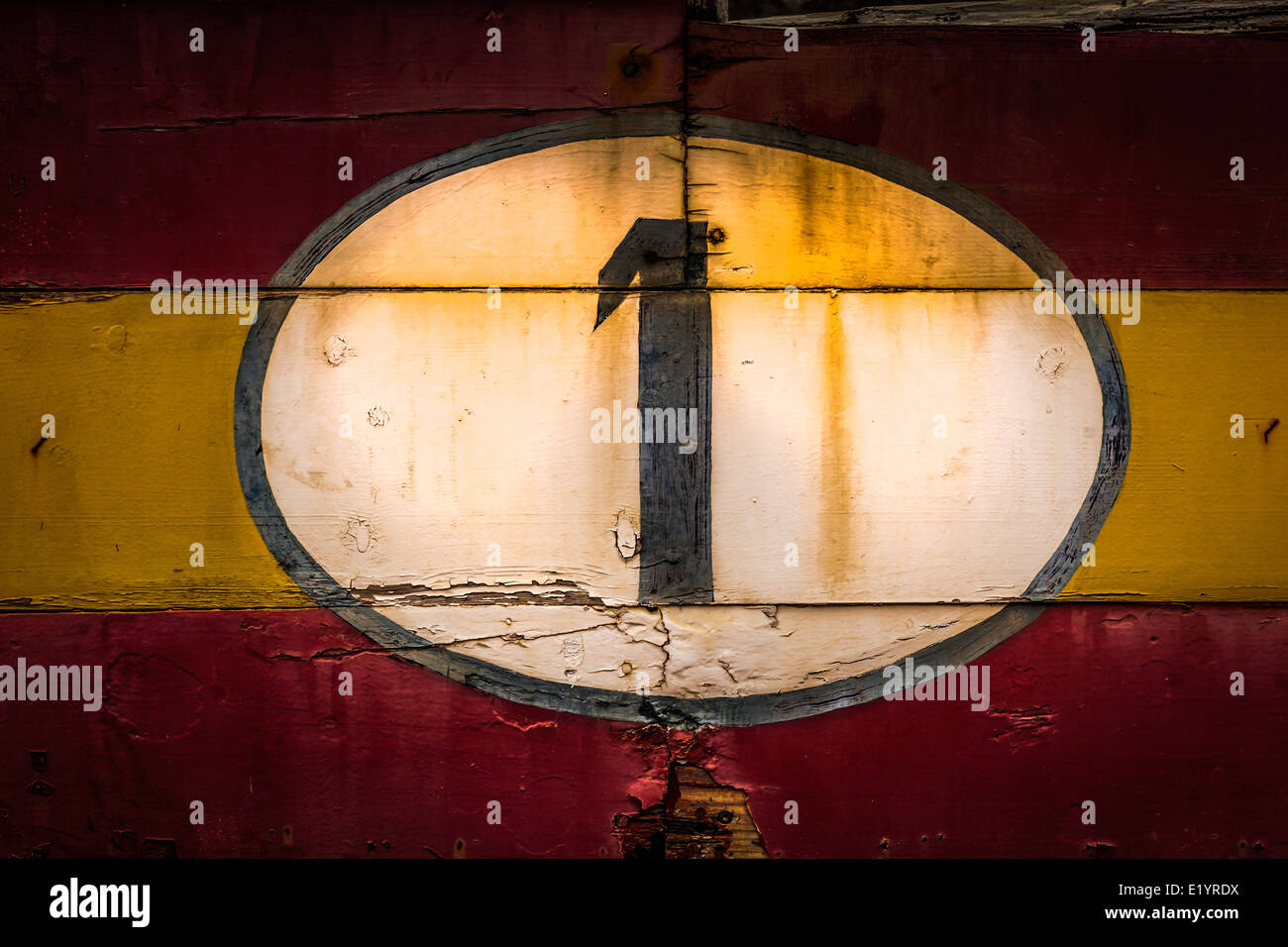 Old painted signs with numerals. Number 1 from a series. - Stock Image