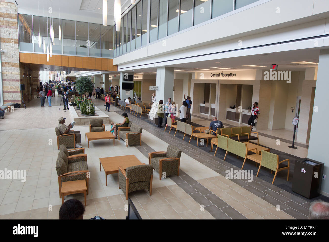 The interior waiting area of a new Veterans Administration VA Outpatient Clinic in southeast Austin, Texas. - Stock Image