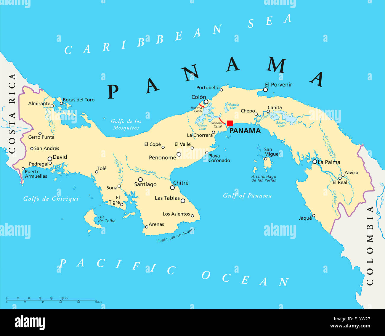 Panama Political Map with capital national borders most important