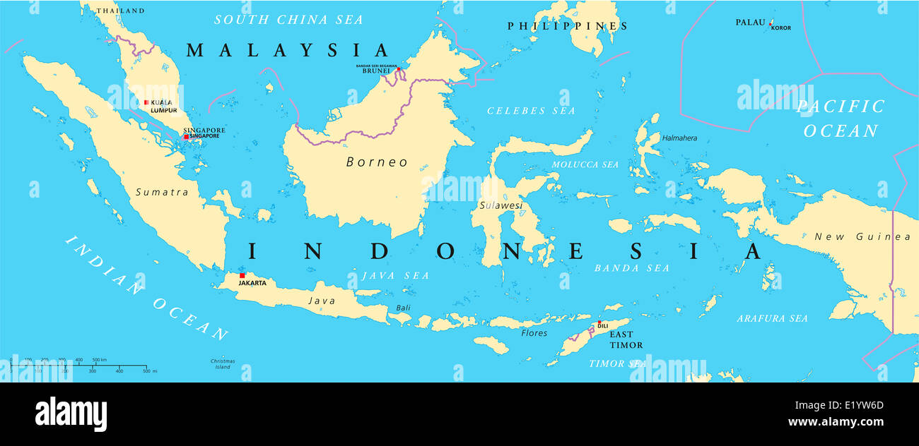 Malaysia And Indonesia Political Map with capitals Kuala Lumpur and Jakarta, with national borders and lakes. English - Stock Image