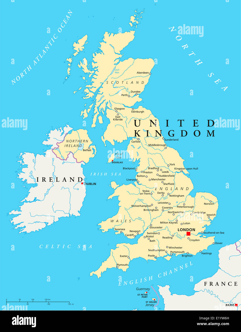 Political Map Of Great Britain.United Kingdom Political Map With Capital London National Borders