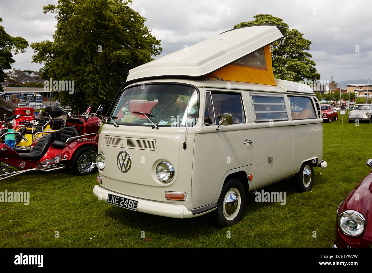 westfalia vw bay window campervan at a classic car show bangor northern ireland - Stock Image