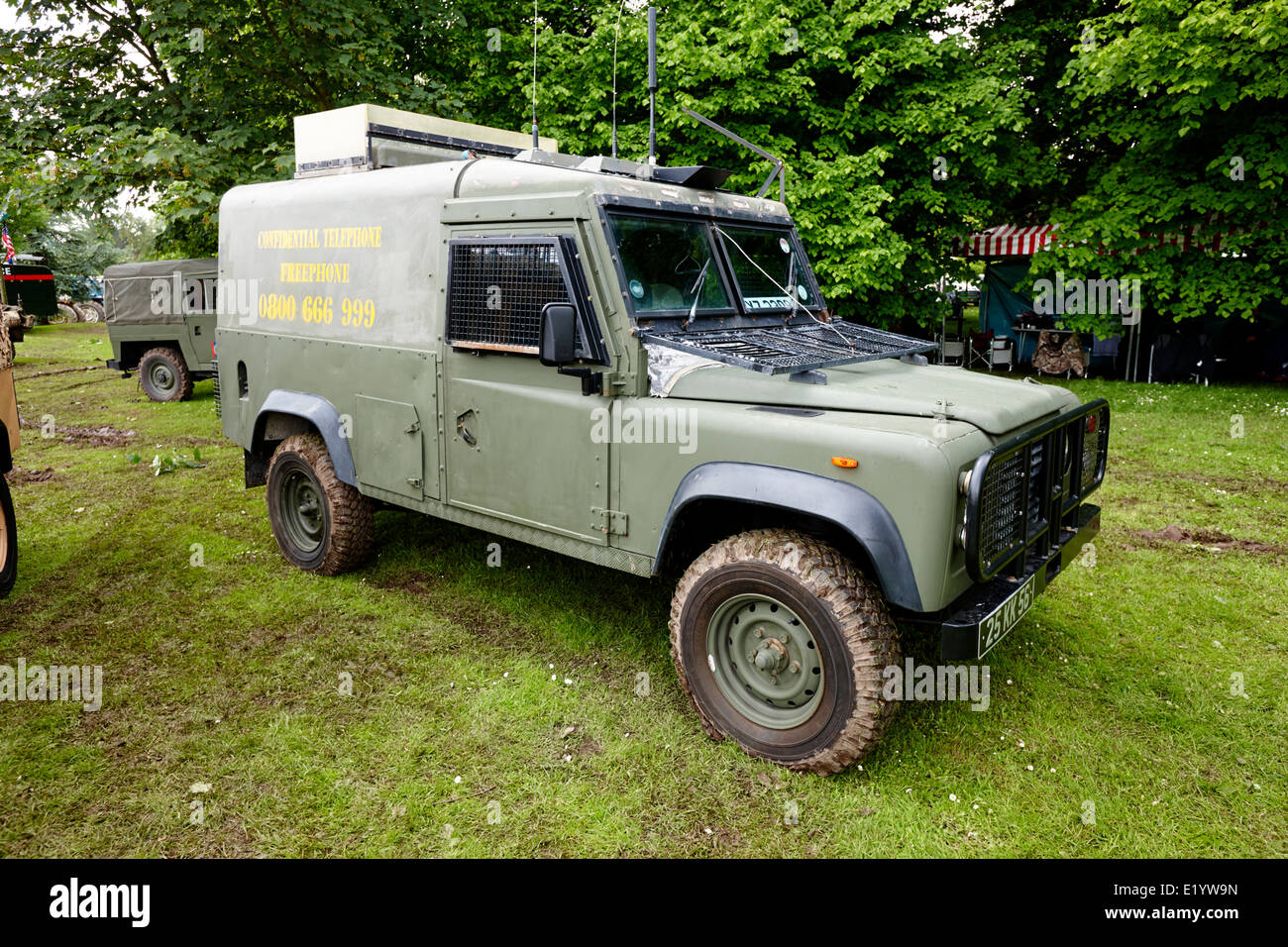 british army snatch landrover in northern ireland colour pattern at military vehicle display bangor northern ireland - Stock Image