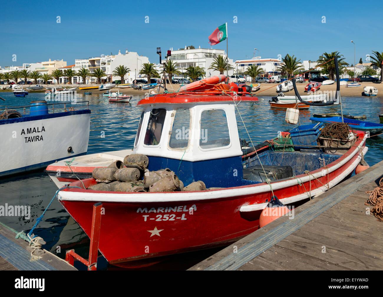 Portugal, the Eastern Algarve, Santa Luzia fishing boats and village, near Tavira Stock Photo