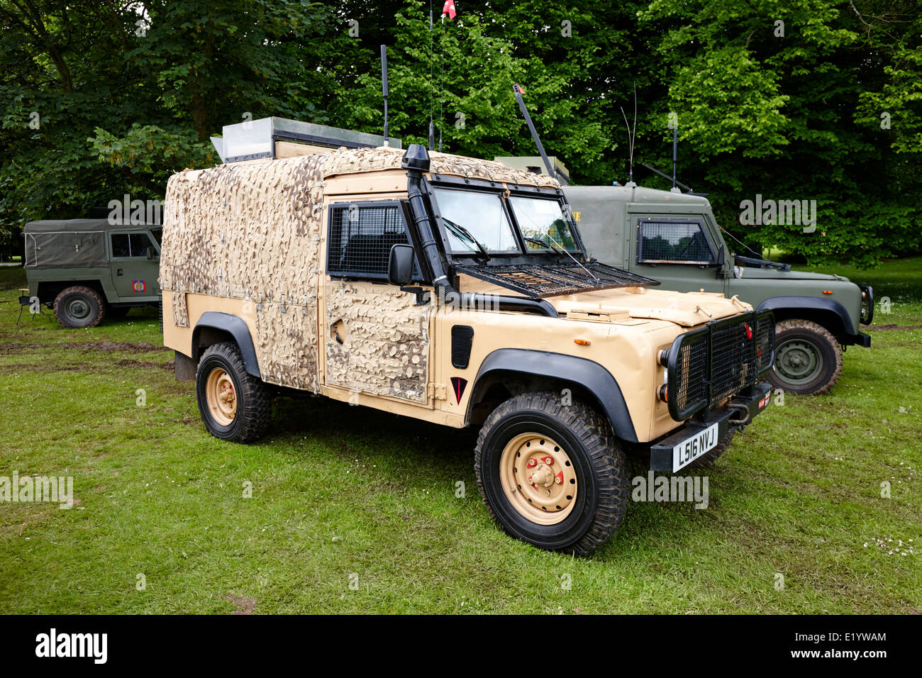 british army snatch landrover in desert colour pattern at military vehicle display bangor northern ireland - Stock Image