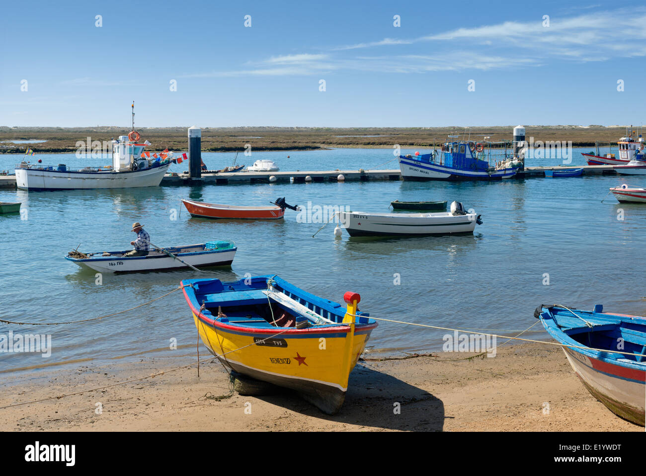 Portugal, the Eastern Algarve, Santa Luzia fishing boats and village, near Tavira Stock Photo