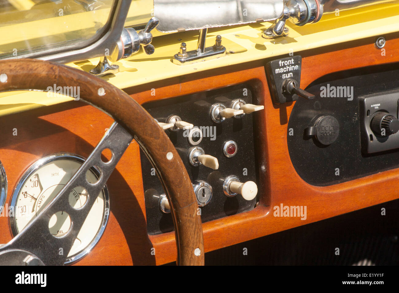 the interior of a vintage sports car with a novelty switch on the stock photo 70070043 alamy. Black Bedroom Furniture Sets. Home Design Ideas