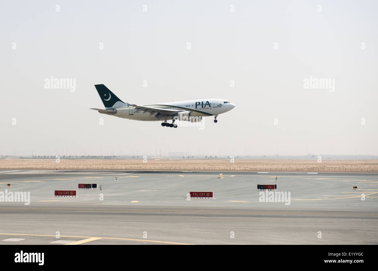 PIA - Pakistan international airplane landing. - Stock Image