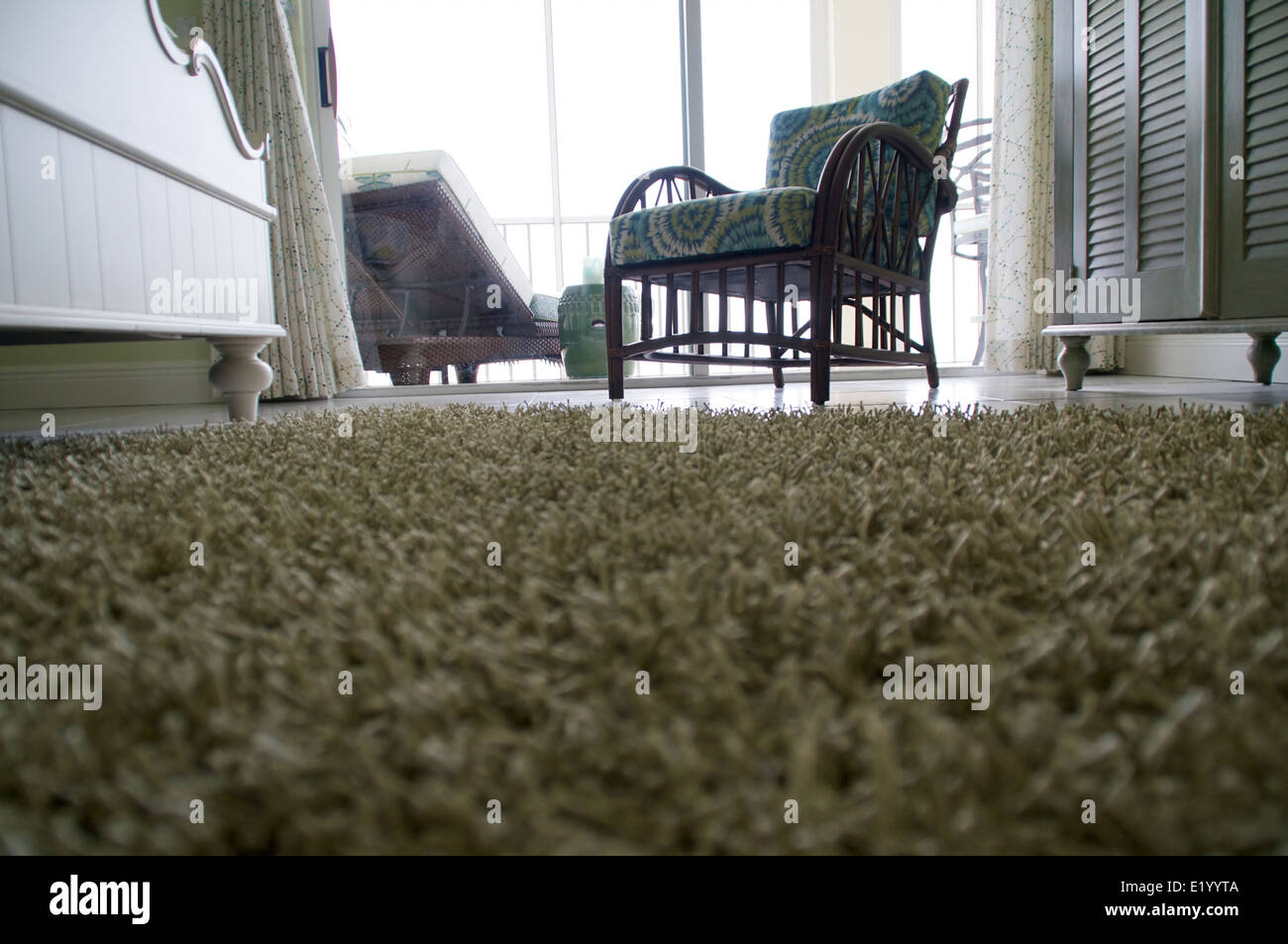 Image of: Low Angle View Of Room Looking Across A Shag Carpet On A Tile Floor Stock Photo Alamy