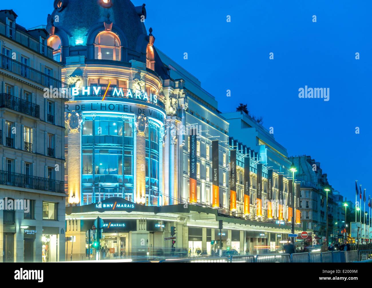 Paris, BHV Marais or Bazar de l'Hôtel de Ville. Department store on the Rue de Rivoli. - Stock Image