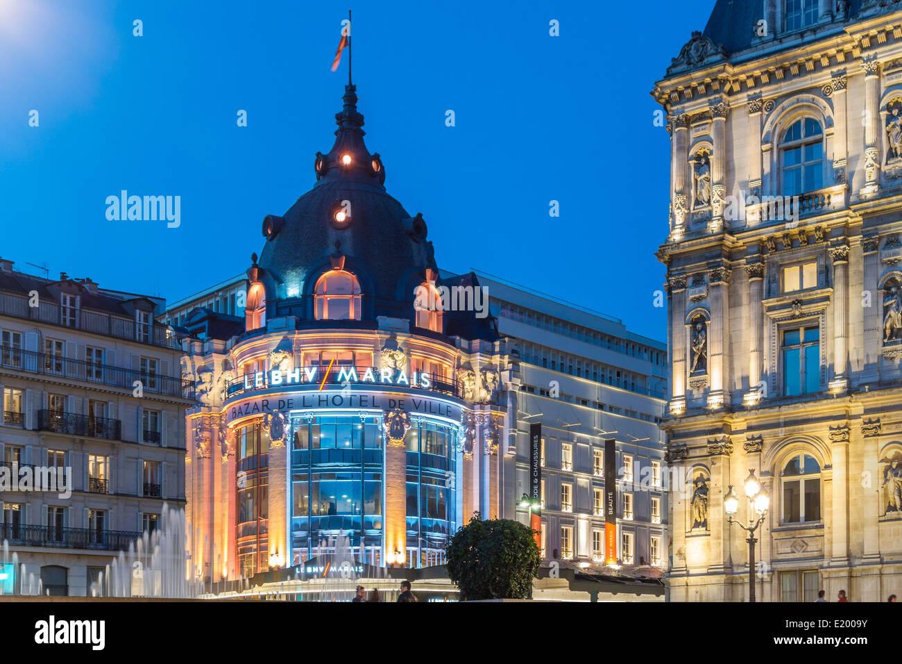 Paris BHV Marais or Bazar de l'Hôtel de Ville. Department store on the Rue de Rivoli. Next to City Hall, - Stock Image
