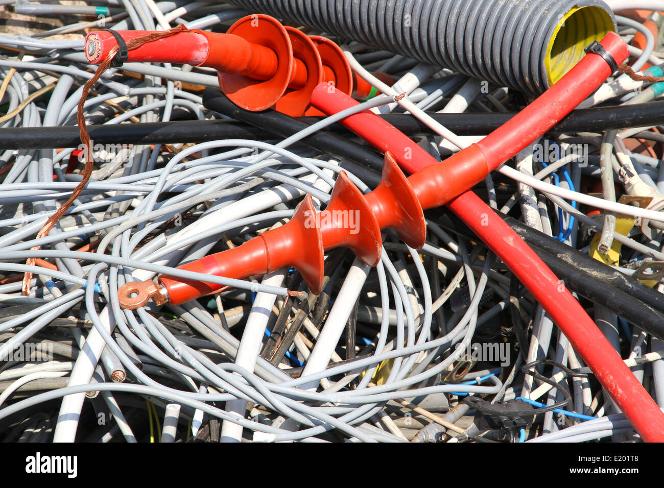 incredible tangle of electrical cables of copper in a landfill - Stock Image