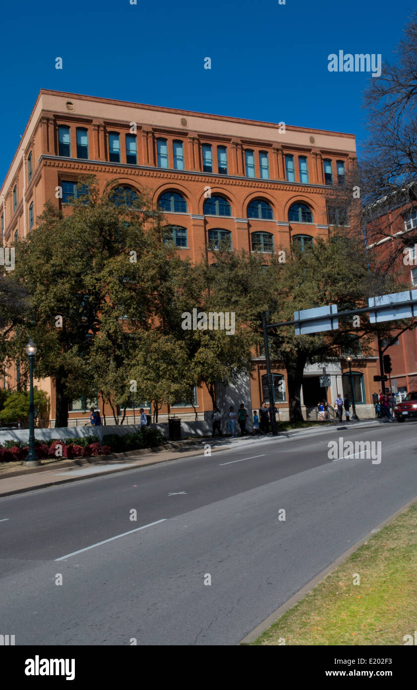 Dallas Texas famous Kennedy assassination in November 1963 spot at Book Depository from street where X marks spot - Stock Image