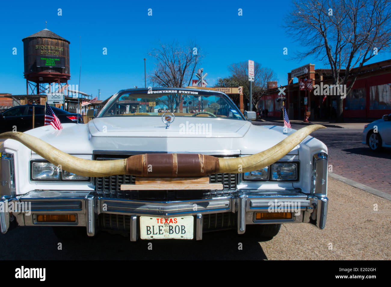 Ft Worth Texas Main Street Cadillac With Longhorns On Grill For Tourists  Near The Stockyard Famous For The Longhorn Herds