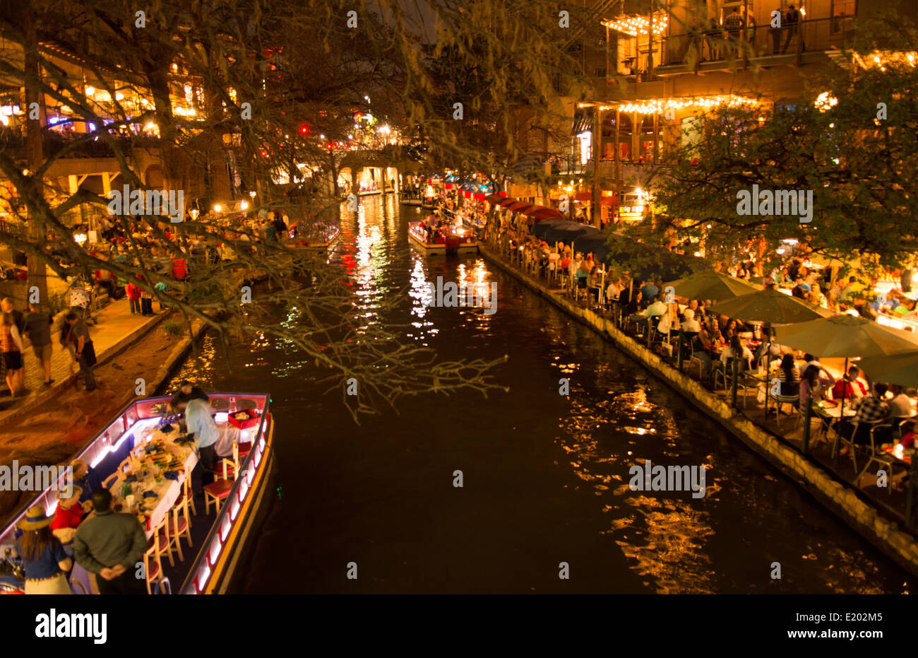 San Antonio Texas Famous The Riverwalk At Night With Boats