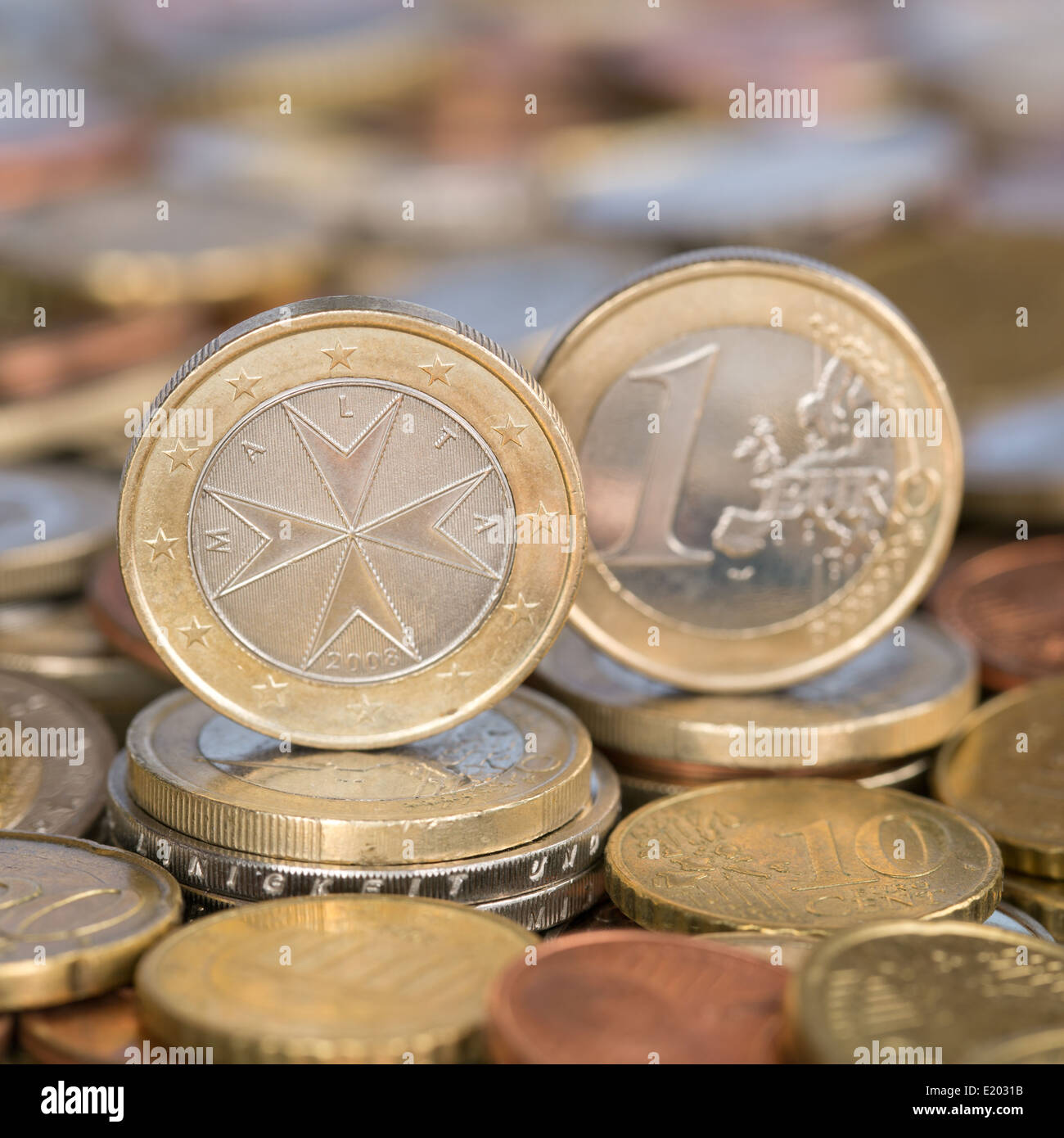 A one Euro coin from the European Union currency member country Malta - Stock Image