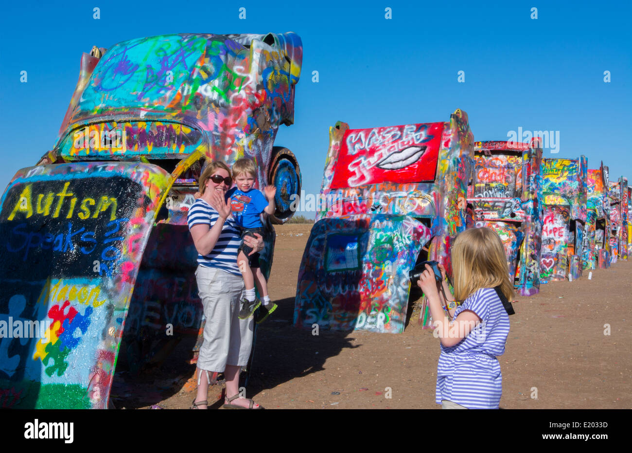 Amarillo Texas Famous Cadillac Ranch With Family Taking Pictures Off