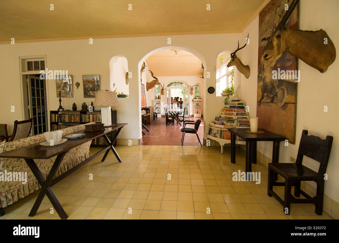 Interior of the historical home of writer Ernest Hemingway in Havana Cuba showing how he lived in San Francisco Stock Photo
