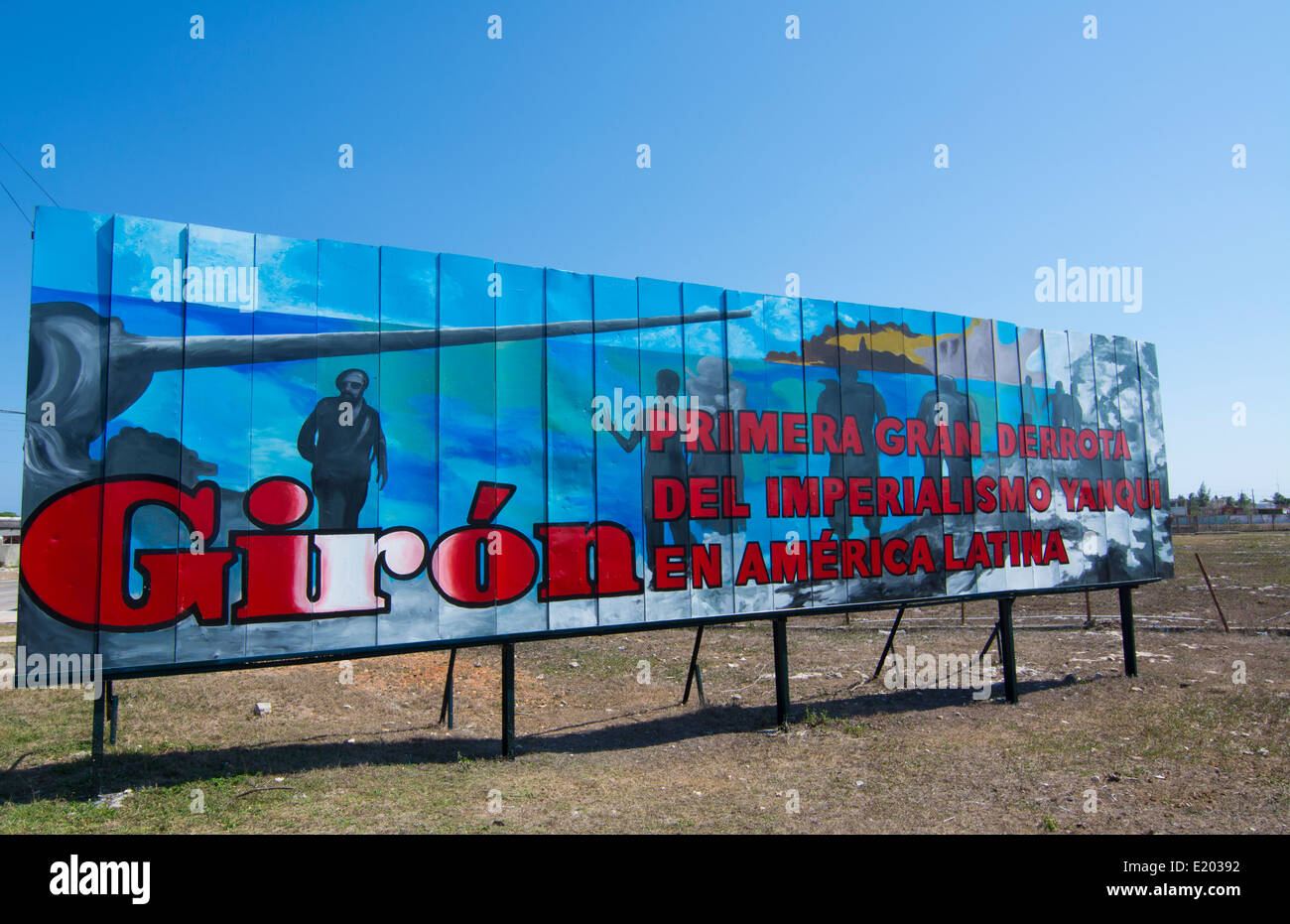 Billboard in Giron Cuba about Bay of Pigs in Spanish saying First Defeat of Imperialist USA in Latin America - Stock Image