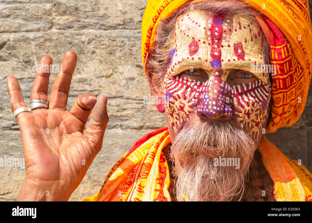 Nepal. Sadus poses for camera in Pashupatinath. Kathmandu. 96 - Stock Image