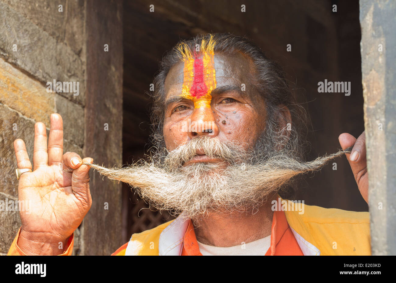 Kathmandu Nepal Sadus painted men pose for portrait in Pashupatinath Buddhist, Buddhism 95 - Stock Image