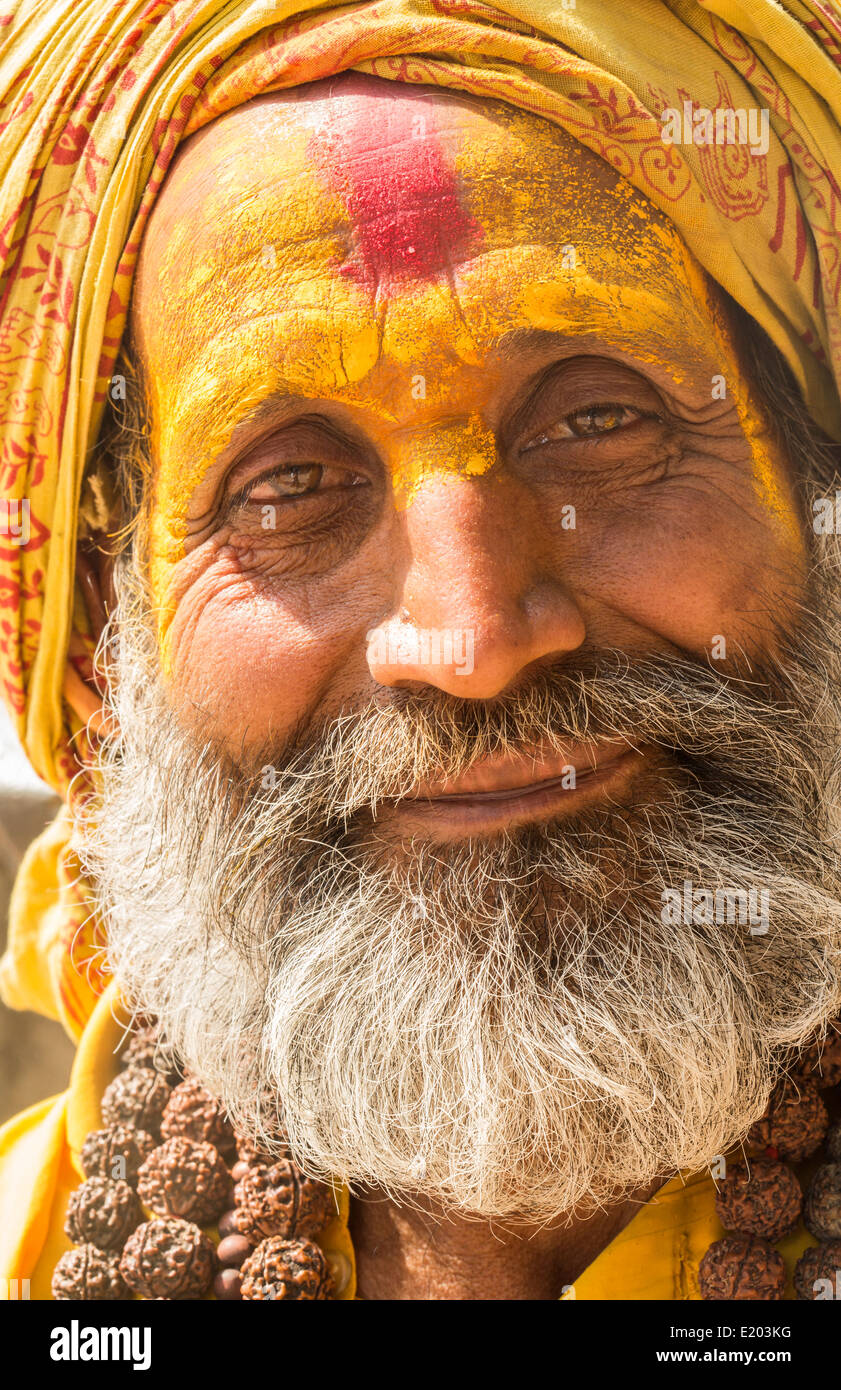 Nepal. Sadus poses for camera in Pashupatinath. Kathmandu. 97 - Stock Image