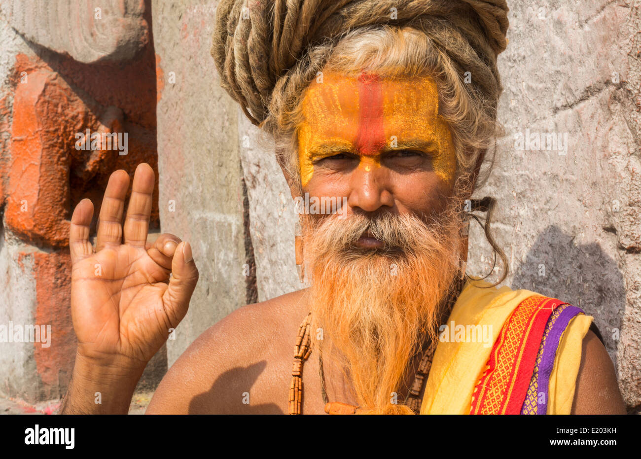 Kathmandu Nepal Sadus painted men pose for portrait in Pashupatinath.Buddhist, Buddhism 98 - Stock Image