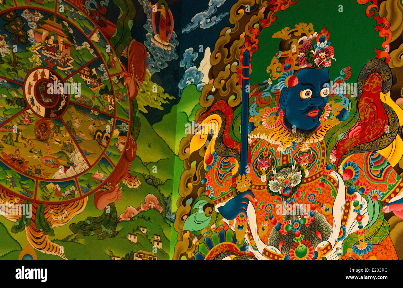 Kathmandu Nepal Colorful illustrations painted on the walls of the Drikung Kagyu Rinchenling monastery - Stock Image