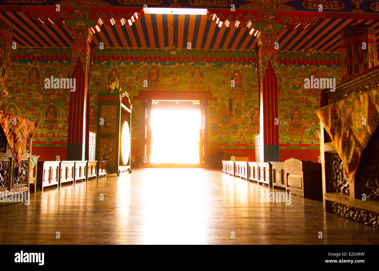 Kathmandu Nepal The main entrance to the prayer hall at the Drikung Kagyu Rinchenling monastery Eastern Kathmandu - Stock Image