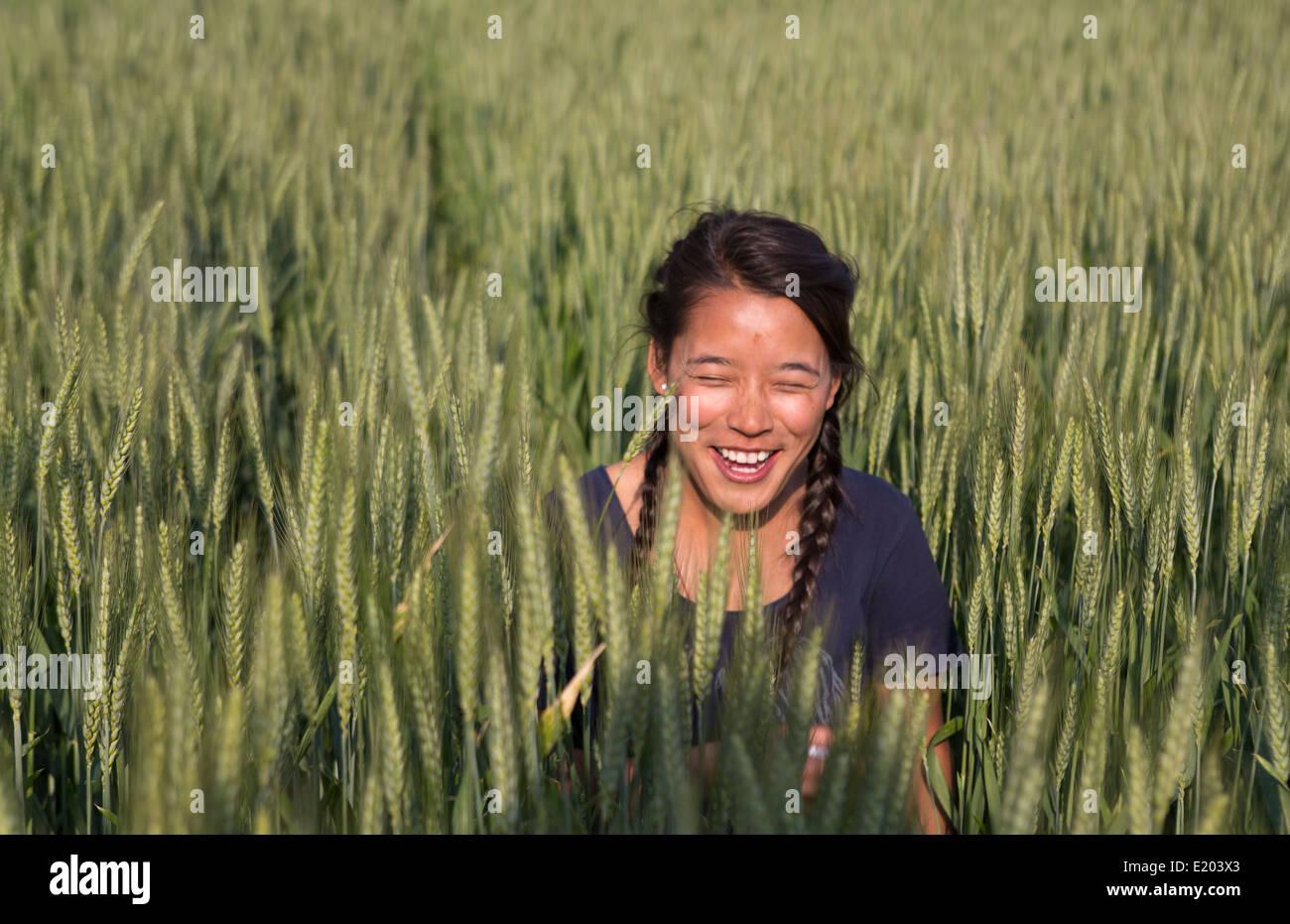 Kathmandu Nepal Nepali child posing in wheat field in Eastern Kathmandu 1 - Stock Image
